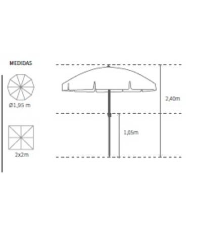 Parasol de Aluminio estriado medidas ø1,95m